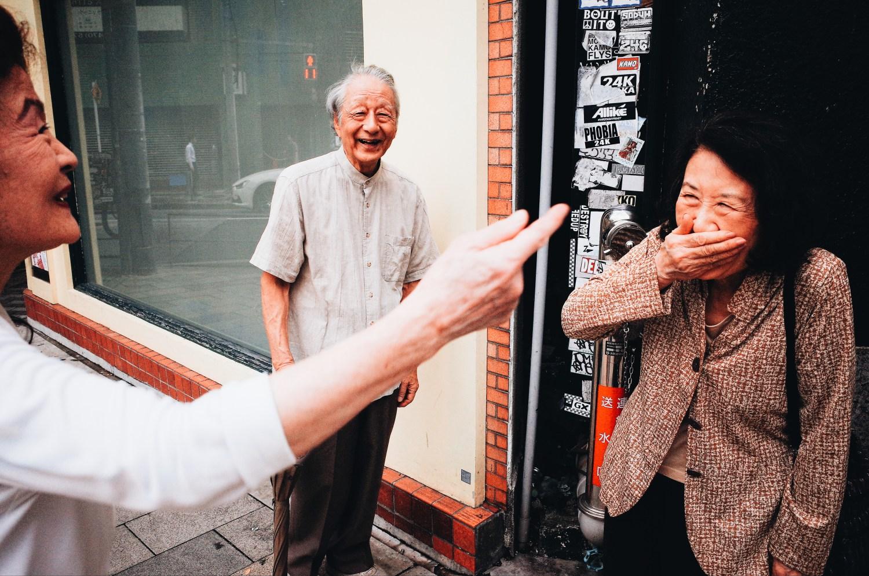 Old people hand gesture Tokyo