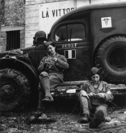 ITALY. 1944. Drivers from the French ambulance corps near the front, waiting to be called.