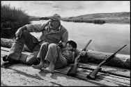 USA. Sun Valley, Idaho. October, 1941. American writer Ernest HEMINGWAY with his son Gregory.