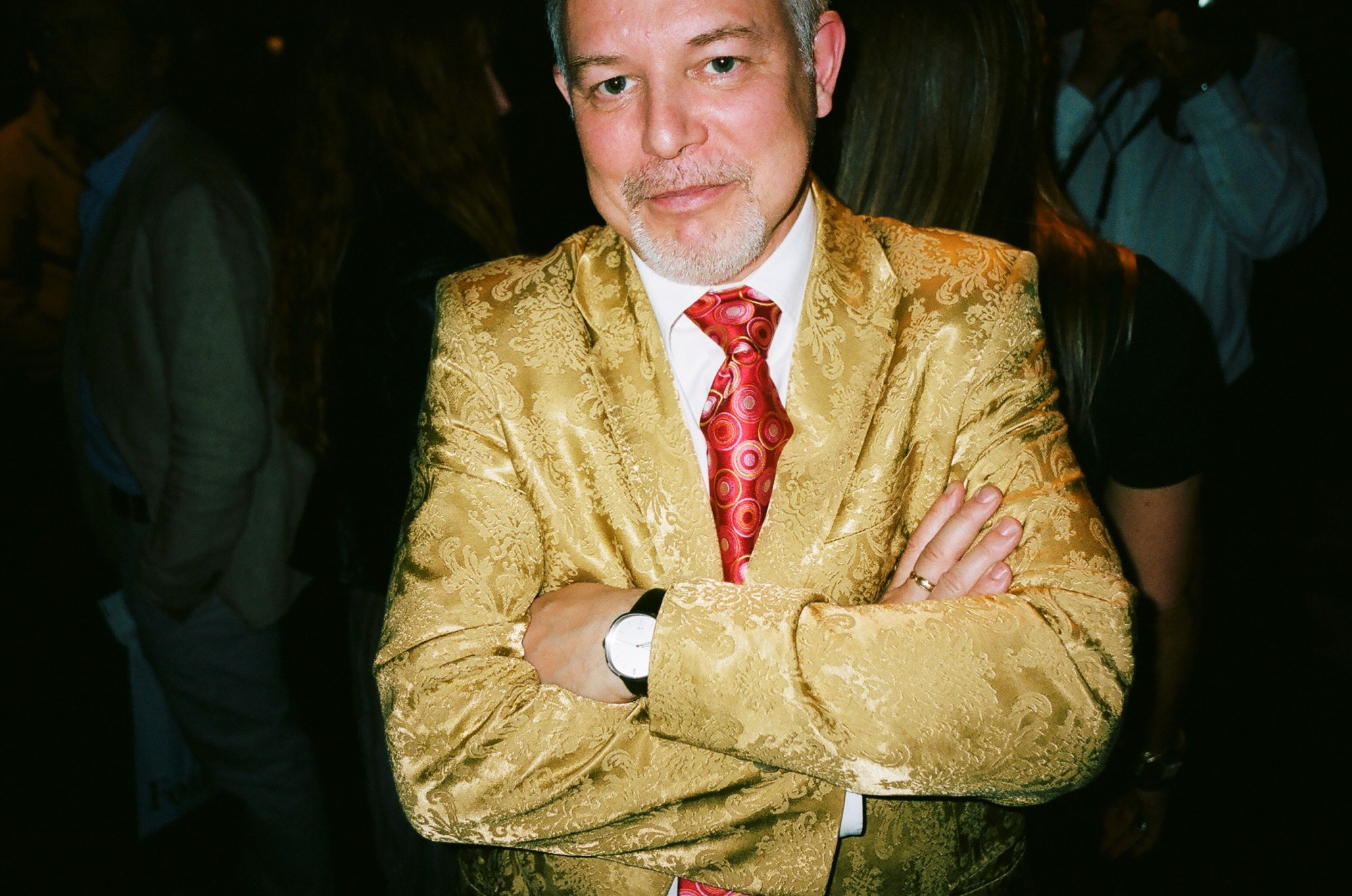 suits gold red tie