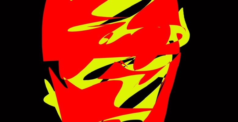 abstract red yellow face sketch