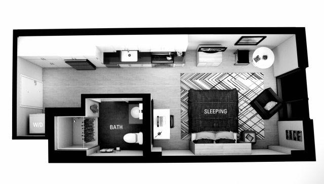 "Our minimalist ""luxury"" studio apartment layout. ""Minimum viable living"""