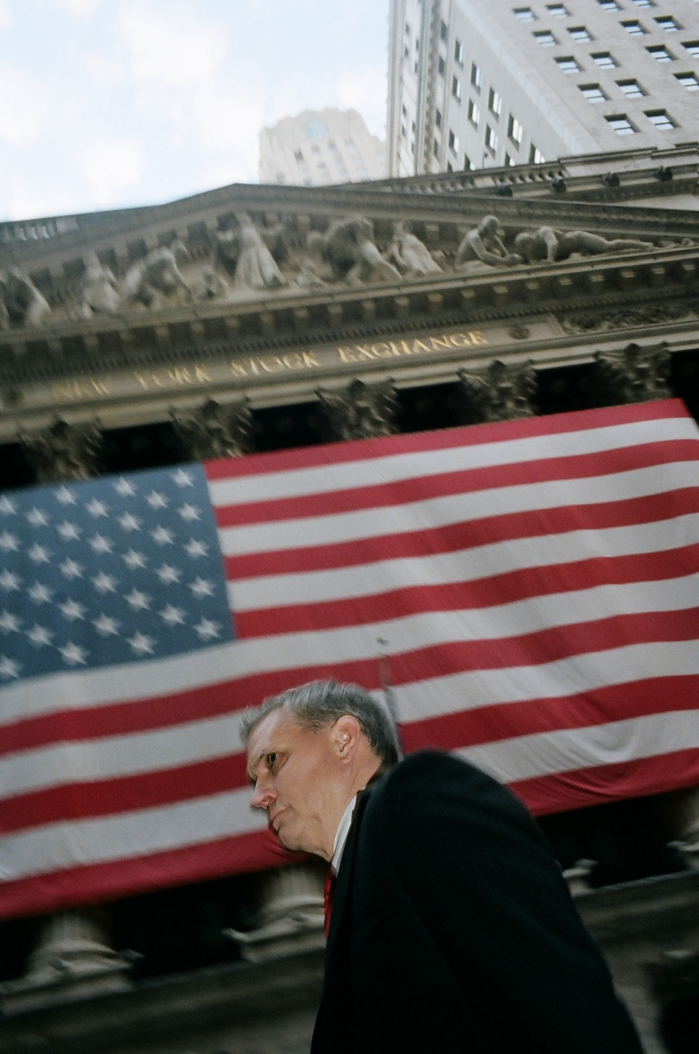 Suits. Wall Street American flag.