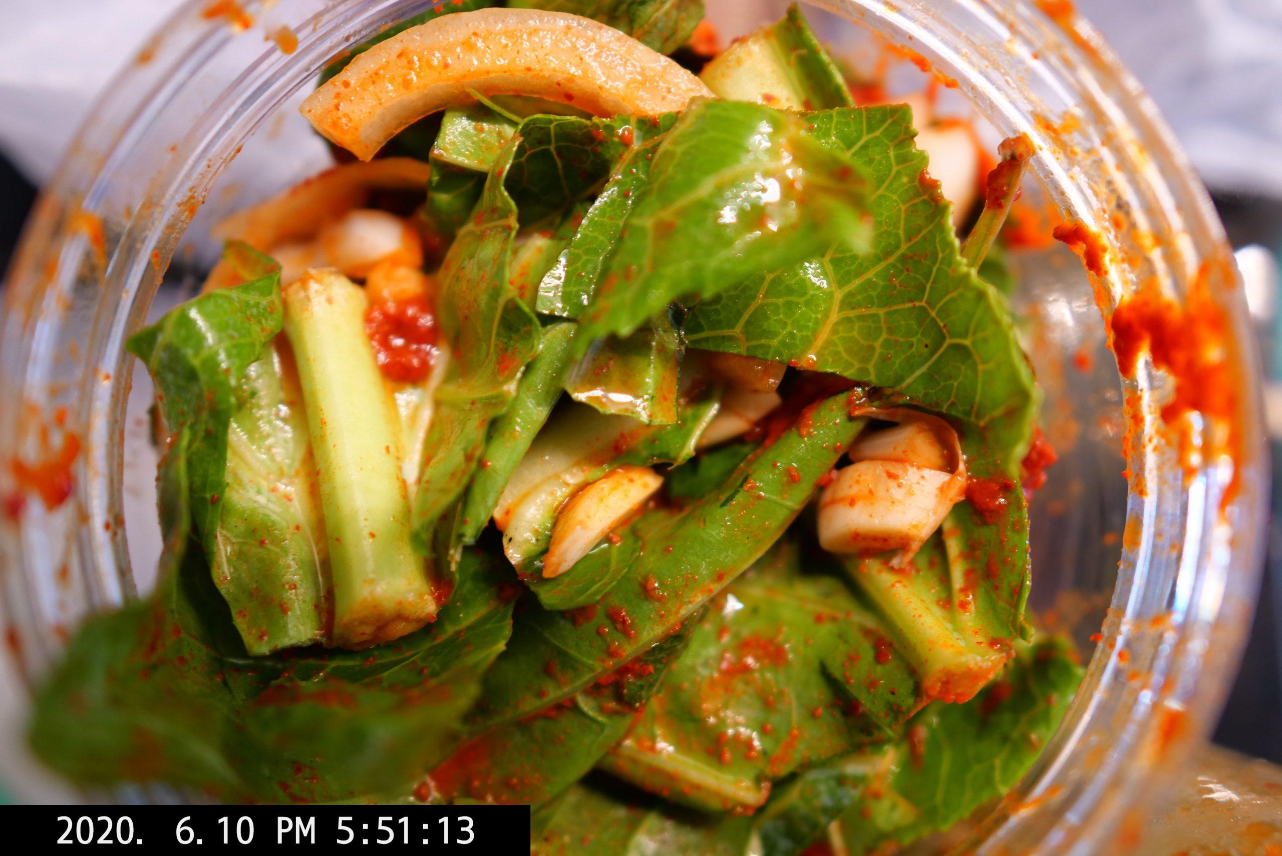 Making kimchi at home with collard greens