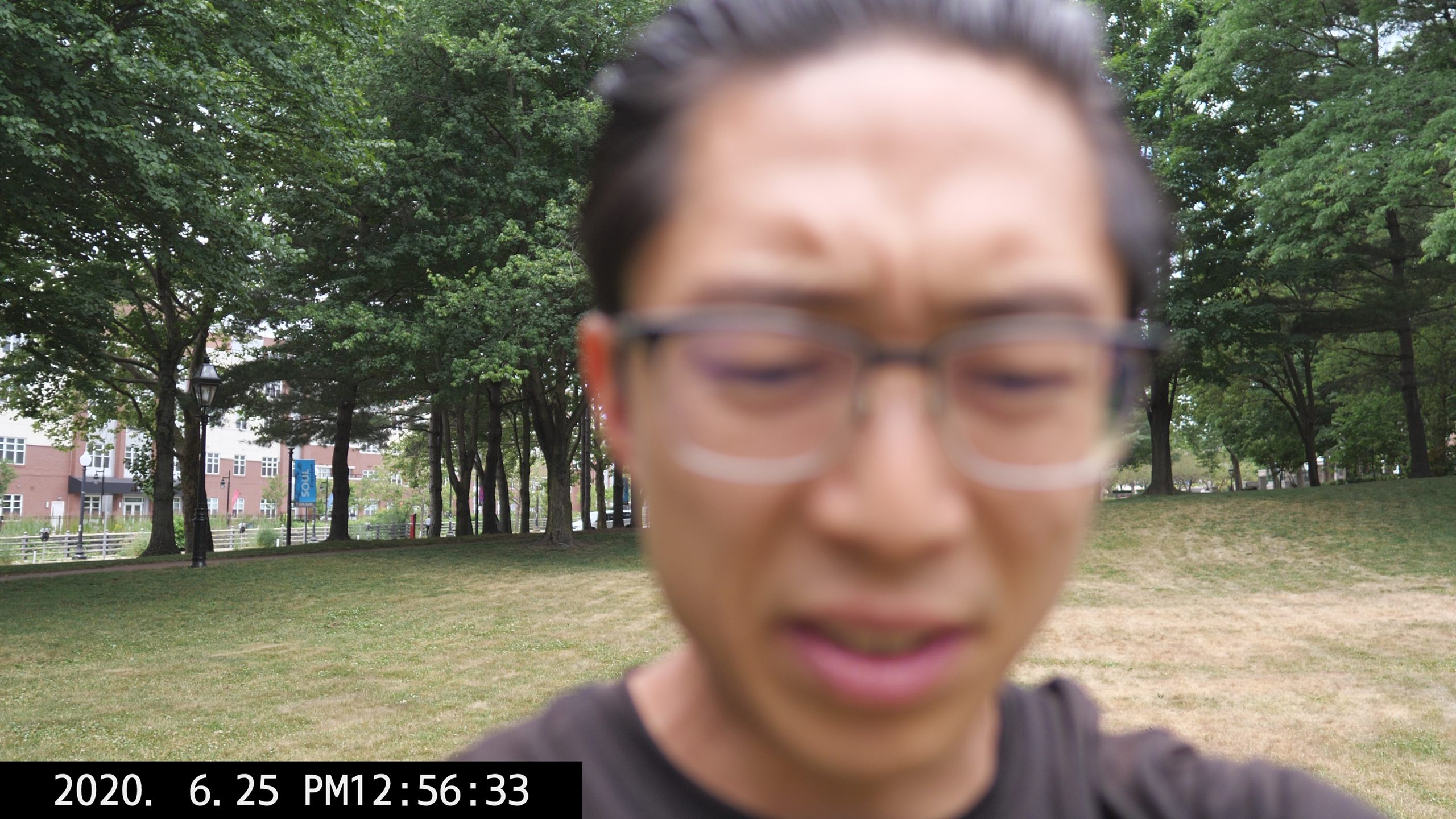 selfie ERIC KIM out of focus park