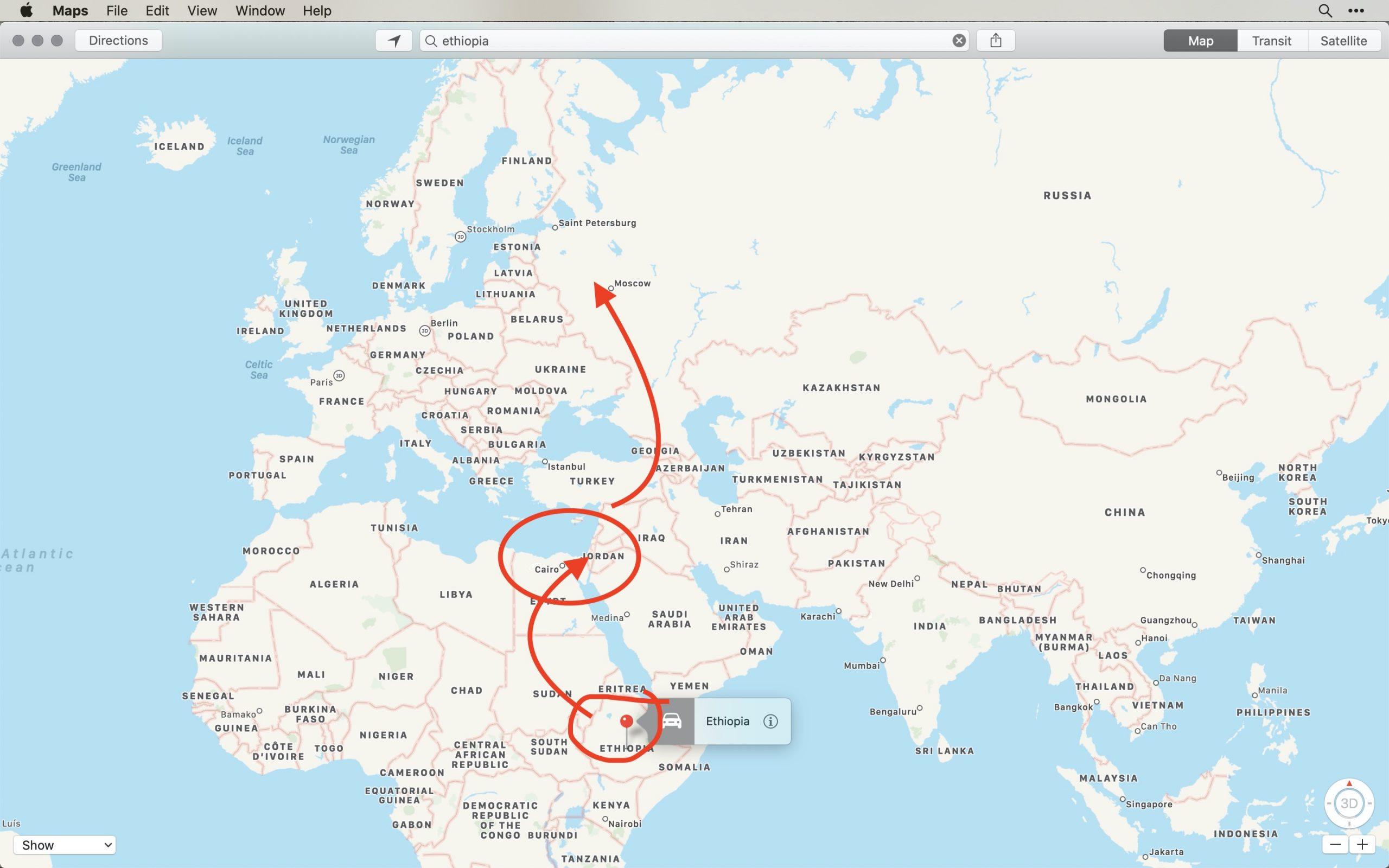 map Ethiopia migration patterns