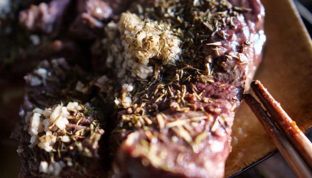 Meat closeup light golden hour steak