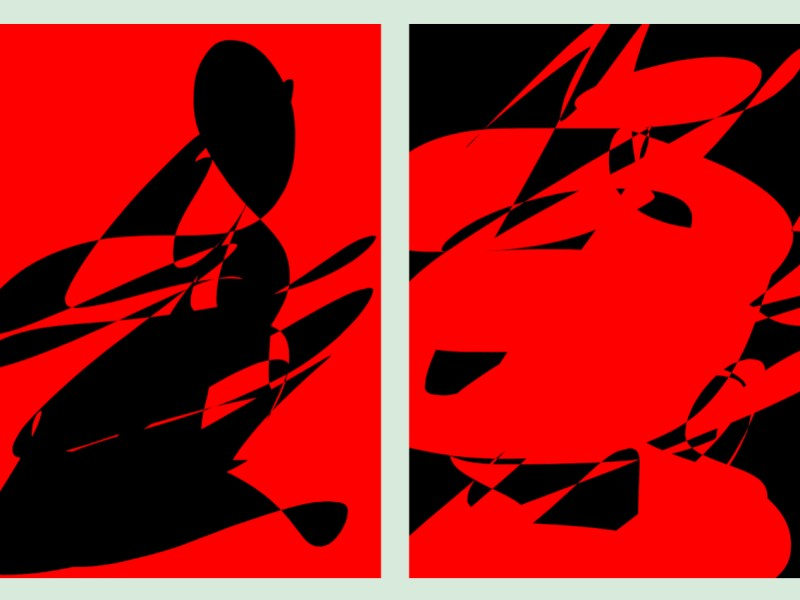 Black red abstract diptych