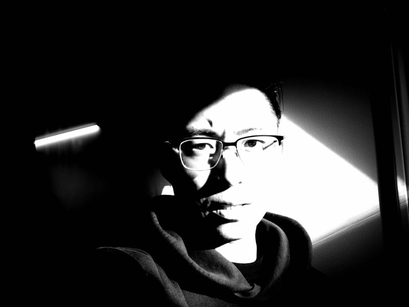 selfie ERIC KIM black and white
