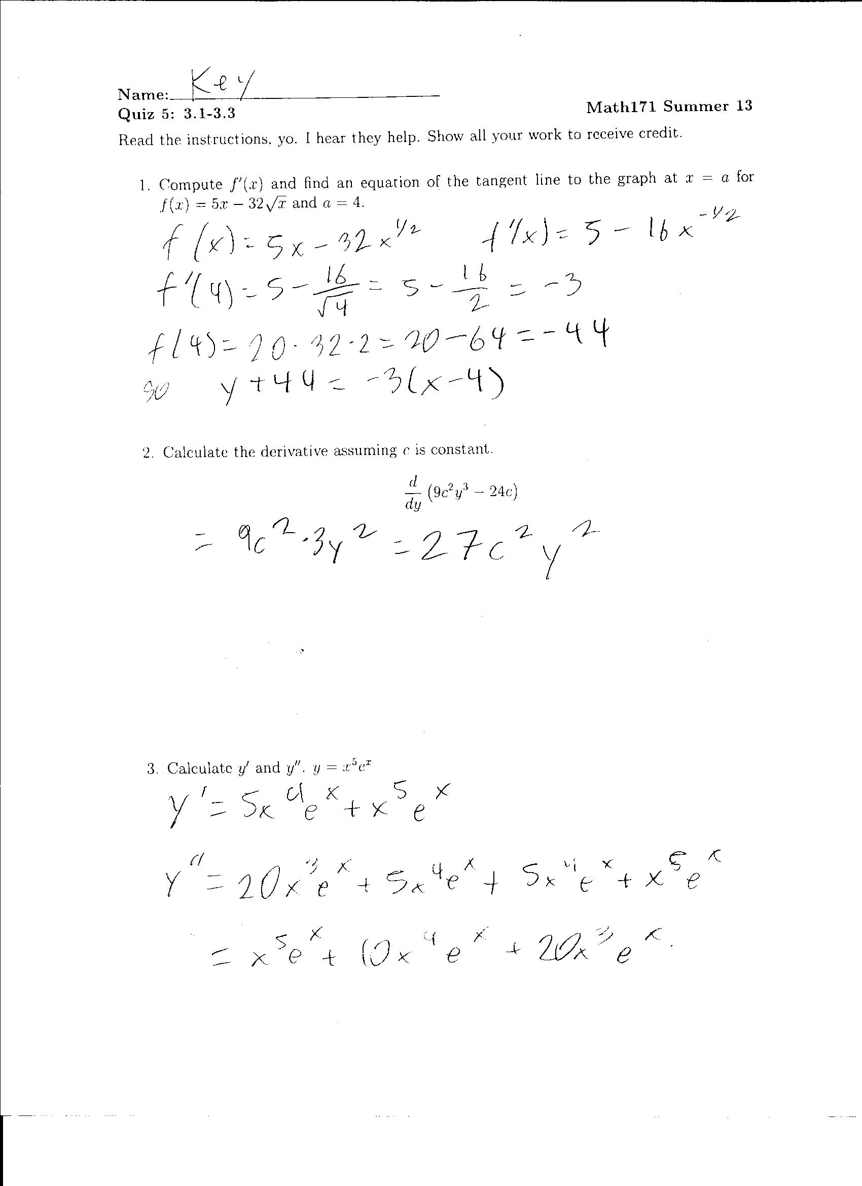 Quiz 5 And 6 Solutions Worksheet Solutions