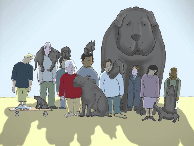 Un grand chien noir nous explique la dépression