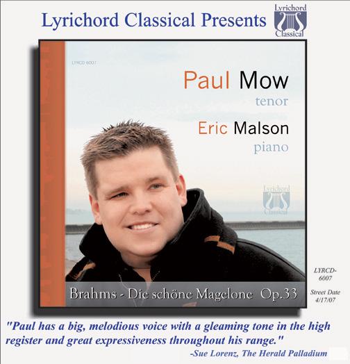 Brahms: Die schöne Magelone, Op. 33 - Eric Malson, piano & Paul Mow, tenor