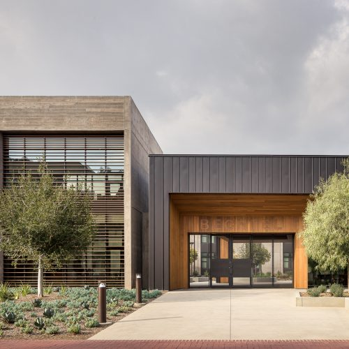Los Angeles Architectural Photography of the Caltech Bechtel Residence in Pasadena California designed by ZGF architects with the photograph taken on a cloudy afternoon