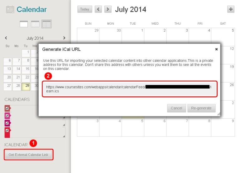 Blackboard Calendar Generate iCal URL Screen