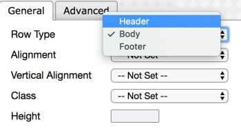 Table Row Properties Screenshot