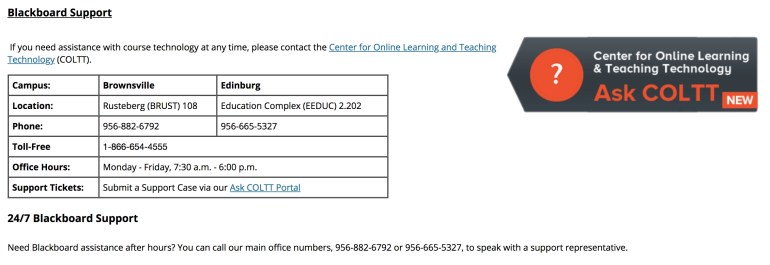 Screenshot of the 24/7 Blackboard Support Information in the course template.