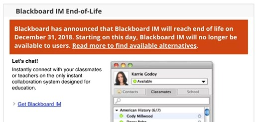 Blackboard IM End of Life Module with alert message.