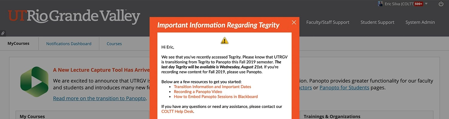 EesySoft popup message notifying faculty that have access Tegrity during a defined window.