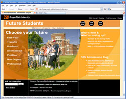 OSU NEW Admissions design screenshot
