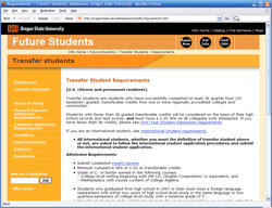 OSU Admissions website level 3 screenshot