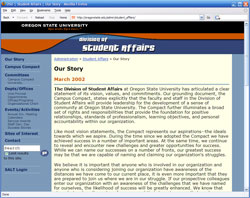 OSU Student Affairs web site original screenshot