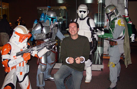 Eric surrounded by stormtroopers bobba fett and jango fett