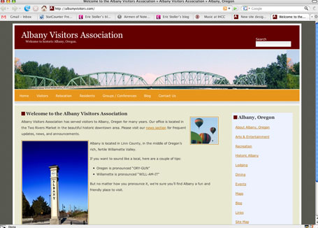 albany visitors association website wordpress content management system