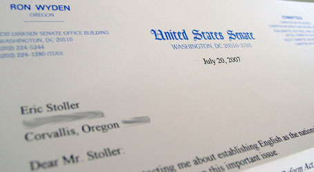 letter from Ron Wyden senator from Oregon
