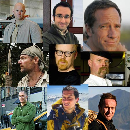 discovery channel hosts - les stroud, adam savage, bear grylls, jamie hyneman, richard machowicz, ben bailey, danny forster, and mike rowe