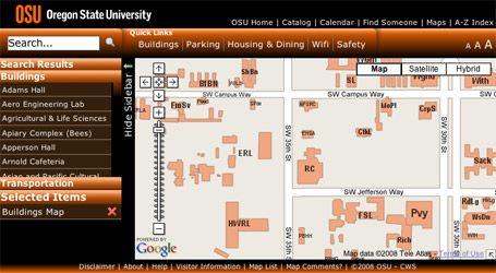 Oregon State University campus map using the Google Maps API