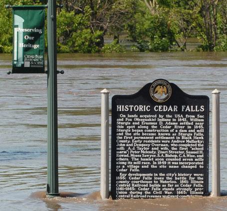 Sadly ironic sign in Cedar Falls Iowa - flooding 2008