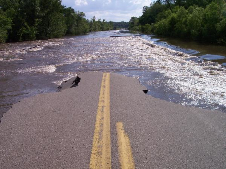flooding in center point iowa completely erases roadway