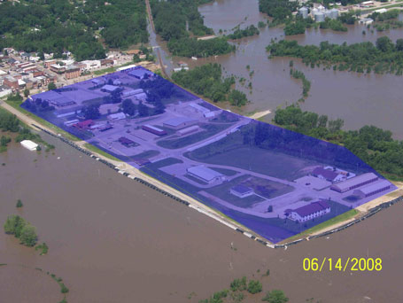 Columbus Junction Iowa photo illustration of flooding after emergency levee breach