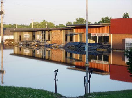 Columbus Junction Iowa medical clinic flooding photograph