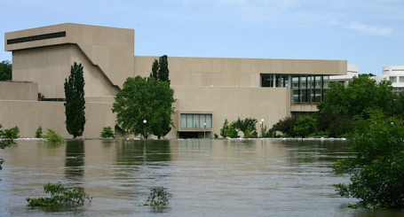 Hancher Auditorium at the University of Iowa could flood to the stage level
