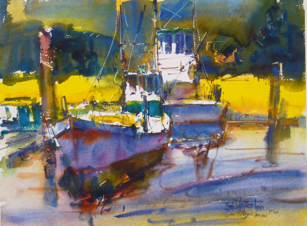 Oyster Dredges at Nahcotta, Giclee print by Eric Wiegardt AWS-DF, NWS