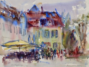 4098 Uberlingen, Germany, original watercolor painting by Eric Wiegardt AWS-DF, NWS