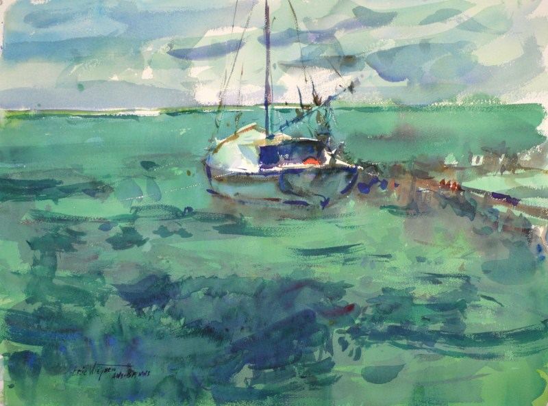 4235 Belizian Afternoon, original watercolor painting by Eric Wiegardt AWS-DF, NWS