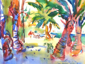 4241 Caye Caulker Palms, original watercolor painting Eric Wiegardt AWS-DF, NWS