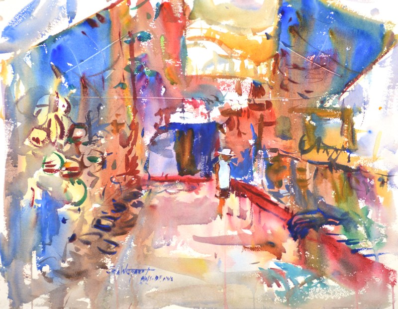 4243 Market, Belize, original watercolor painting Eric Wiegardt AWS-DF, NWS