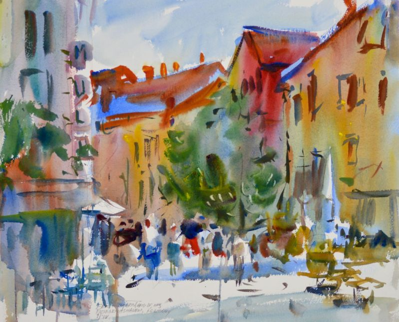 4103 Friedrichshafen Plaza, original watercolor painting by Eric Wiegardt AWS-DF, NWS