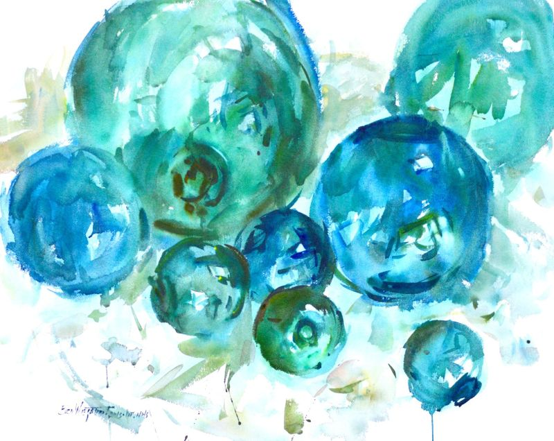 4138 Glass Floats #2 original painting by Eric Wiegardt, AWS-DF, NWS