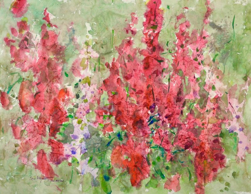 4183 Foxgloves, original watercolor painting by Eric Wiegardt AWS-DF, NWS