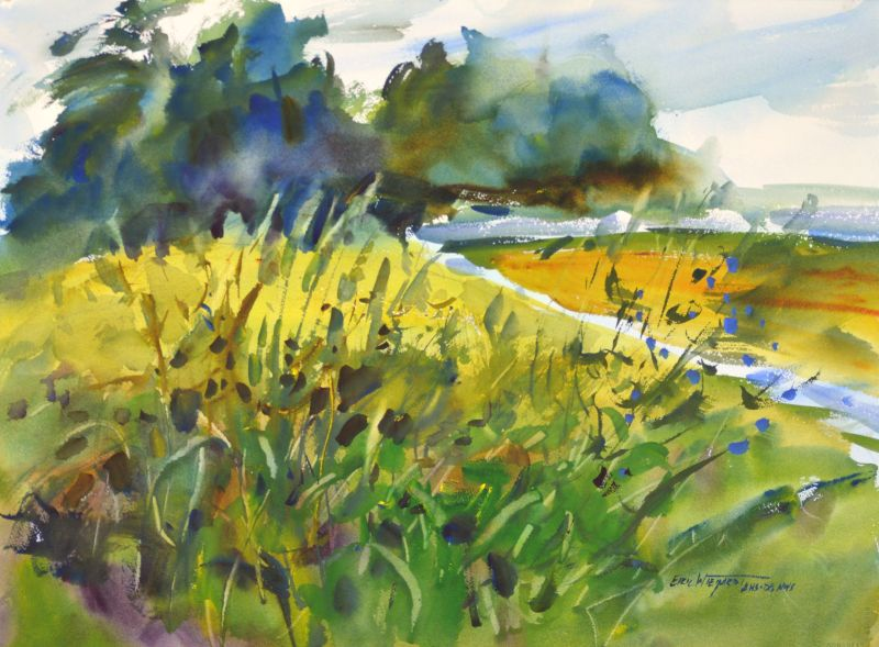 4294 Oysterville Dike #2, original watercolor painting by Eric Wiegardt AWS-DF, NWS