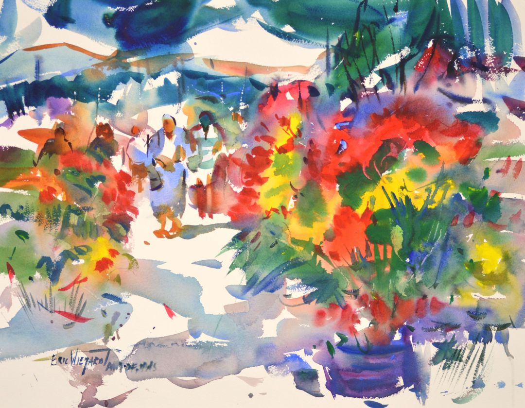 4310 Flower Market, original watercolor painting by Eric Wiegardt AWS-DF, NWS