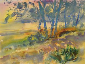 4311 My Sunrise, original watercolor painting by Eric Wiegardt AWS-DF, NWS