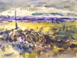 4312 Oyster Tubs at Sunrise, original watercolor painting by Eric Wiegardt AWS-DF, NWS