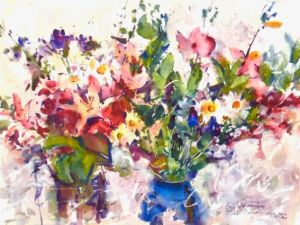 Fresh Bouquets Notecard, blank giclee watercolor print by Eric Wiegardt AWS-DF, NWS