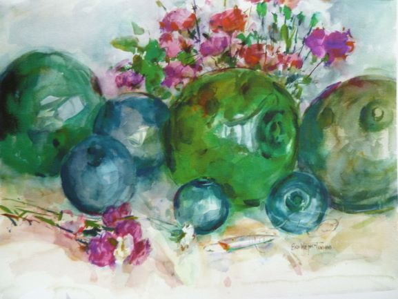 Glass Floats Notecard, blank giclee watercolor print by Eric Wiegardt AWS-DF, NWS