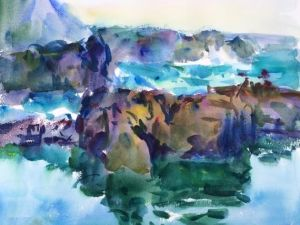 Madiera on the Rocks Notecard, blank giclee watercolor print by Eric Wiegardt AWS-DF, NWS